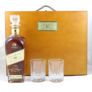 Johnnie Walker 21 Year Old Wooden Gift Set front