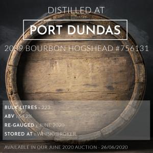 1 Port Dundas 2009 Bourbon Hogshead #756131 / Cask in storage at Whiskybroker