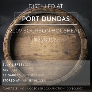 1 Port Dundas 2009 Bourbon Hogshead #728313 / Cask in storage at Whiskybroker