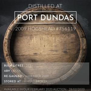 1 Port Dundas 2009 Hogshead #756119 / Cask in storage at Whiskybroker