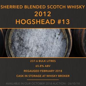 1 x Sherried Blended Scotch Whisky 2012 Hogshead #13 / Edrington