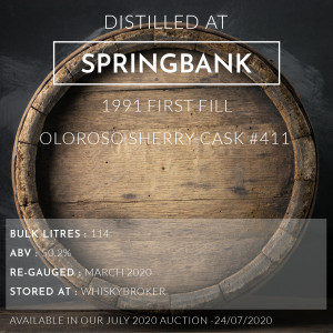 1 Springbank 1991 First Fill Oloroso Sherry Cask #411 / Cask in storage at Whiskybroker