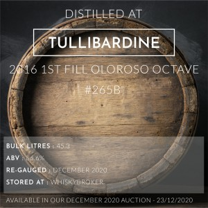 1 Tullibardine 2016 1st Fill Oloroso Octave #265B / Cask in storage at Whiskybroker