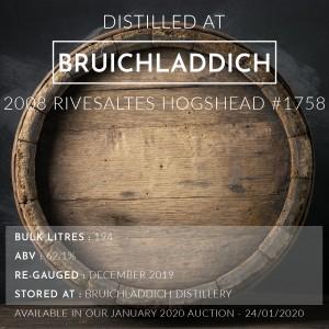 1 Bruichladdich 2008 Rivesaltes Hogshead 11 Year Old #1758 / Cask in storage at Bruichladdich