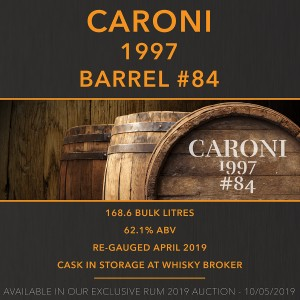 1 Caroni 1997 Barrel #84 / Cask in storage at Whiskybroker