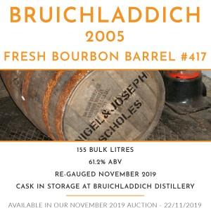 1 Bruichladdich 2005 Fresh Bourbon Barrel #417 / Cask in storage at Bruichladdich