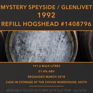 1 Mystery Speyside 1992 Refill Hogshead #1408796 26 Year Old / Glenlivet
