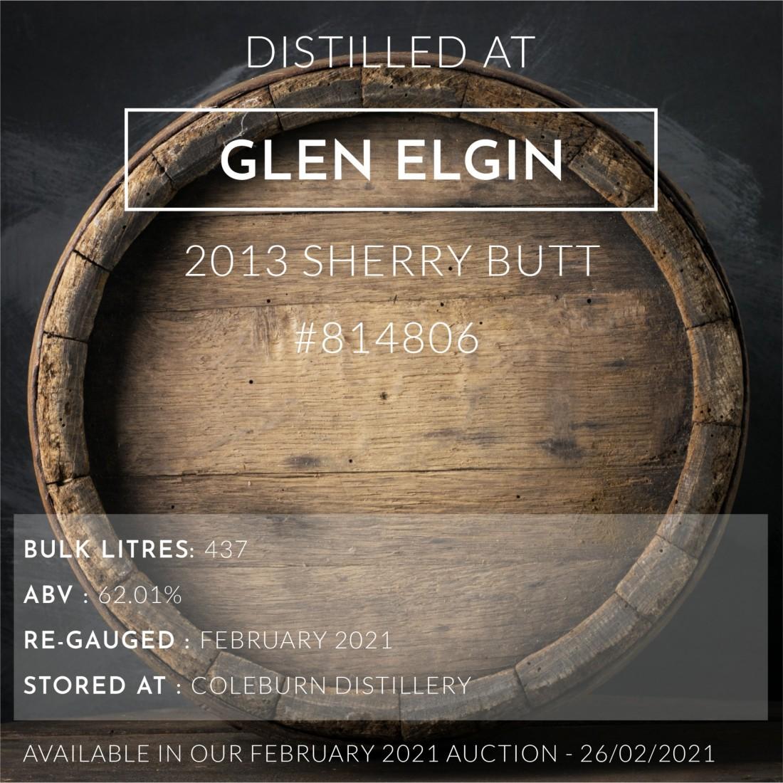 1 Glen Elgin 2013 Sherry Butt #814806 / Cask in storage at Coleburn
