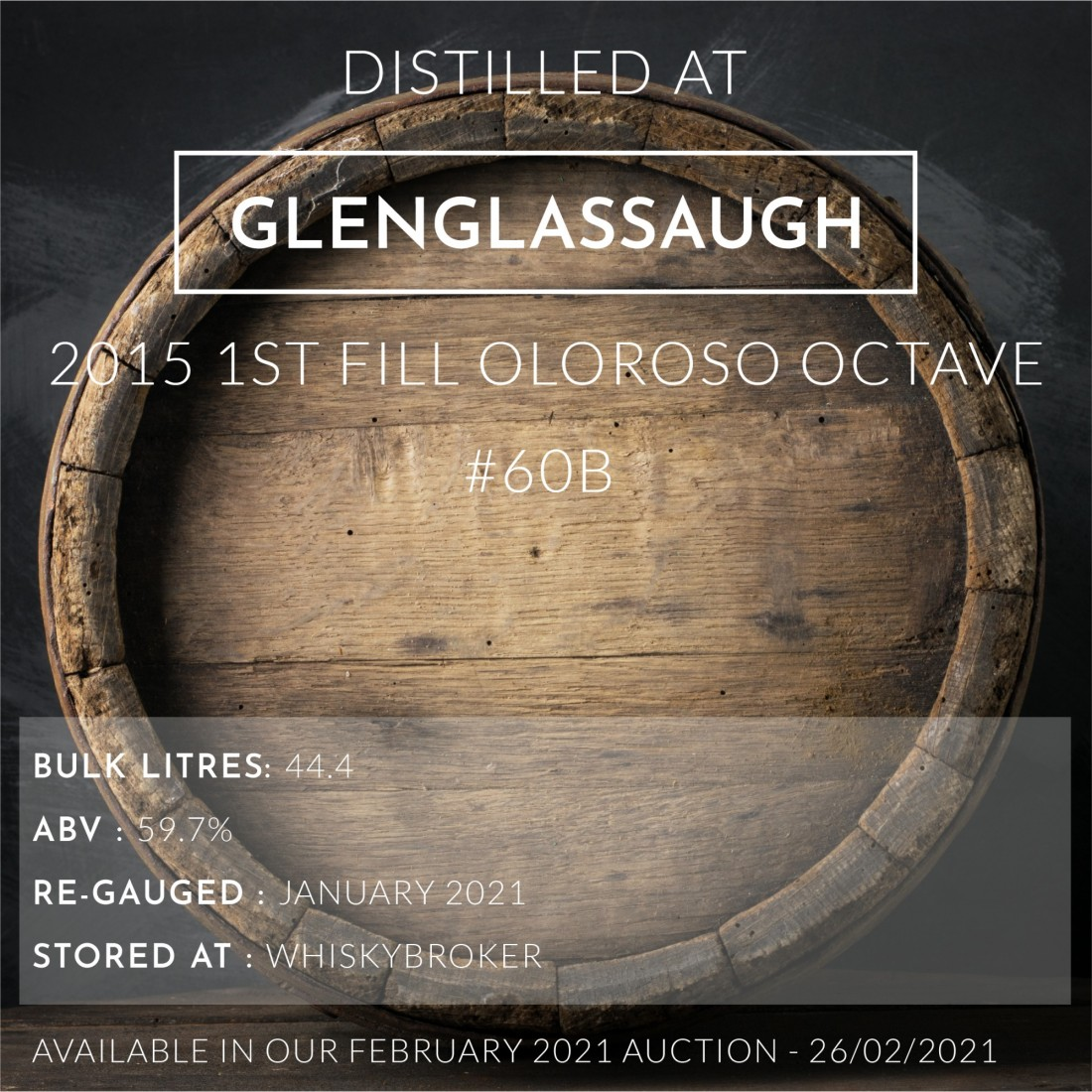 1 Glenglassaugh 2015 1st Fill Oloroso Octave #60B / Cask in storage at Whiskybroker