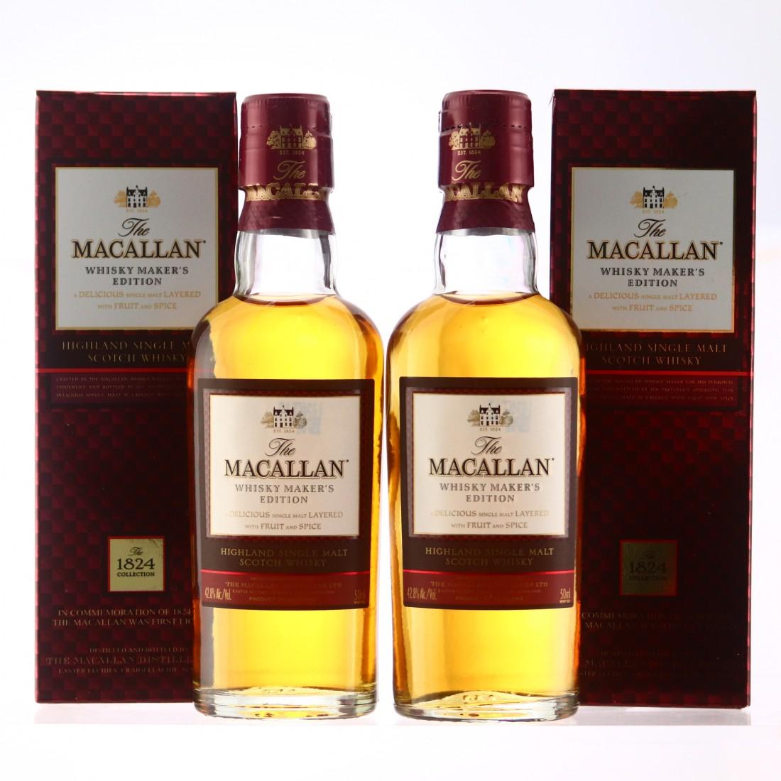 Macallan Whisky Maker's Edition Miniatures x 2