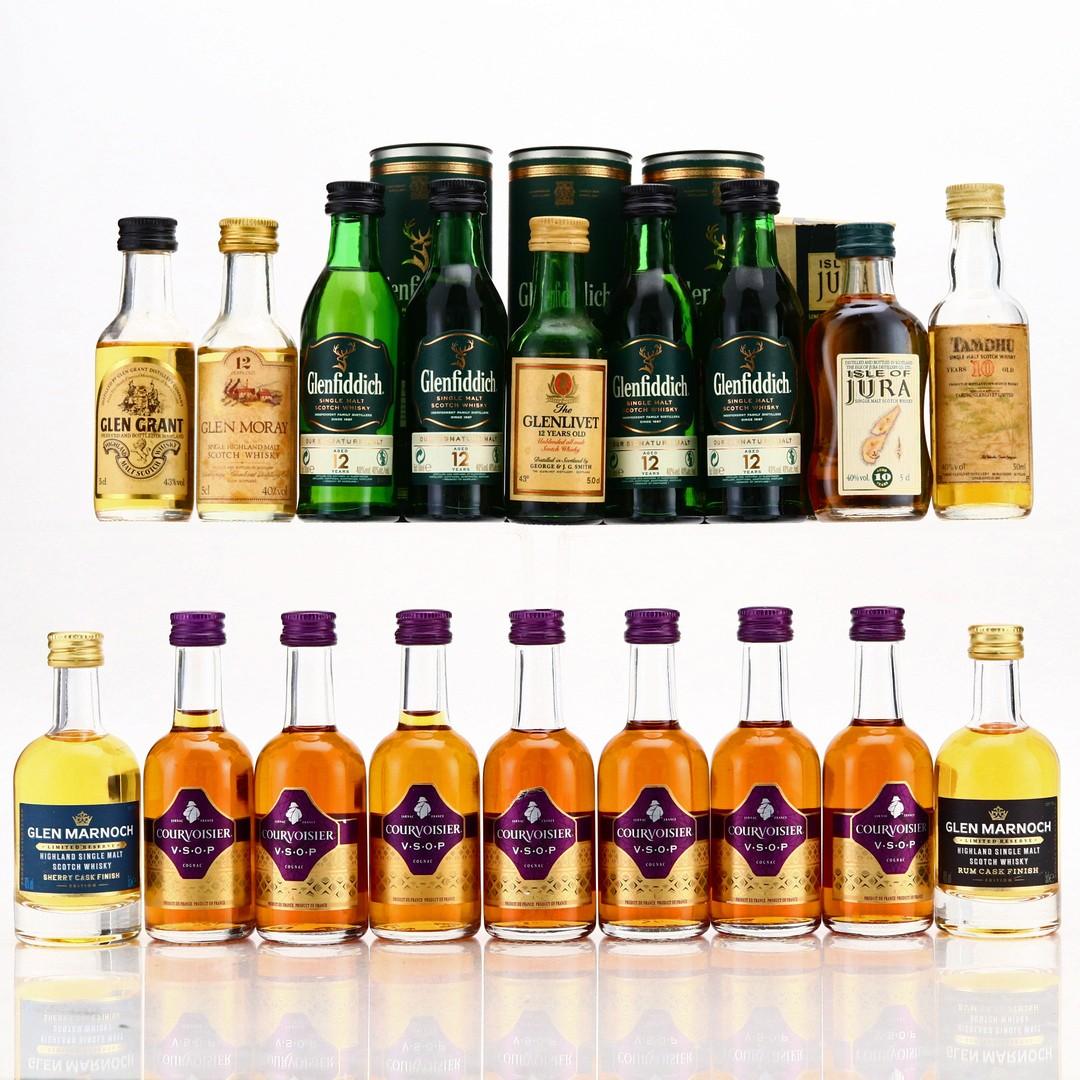 Single Malt and Cognac Miniatures x 18