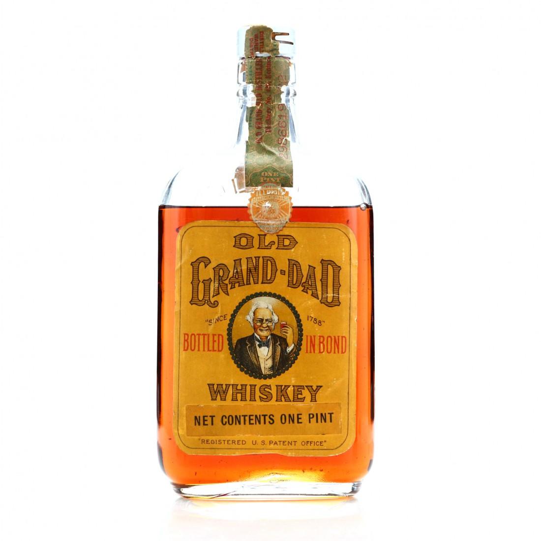 Old Grand-Dad 1917 AMS Co Bottled in Bond Whiskey Pint / Prohibition Era Bottling