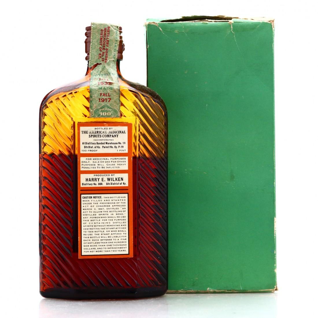 Harry E Wilken 1917 AMS Co Special Old Reserve Bourbon Pint / Prohibition Era Bottling