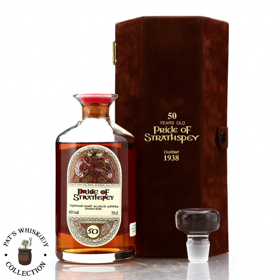 Pride of Strathspey 1938 Gordon and MacPhail 50 Year Old ' Book of Kells' Decanter