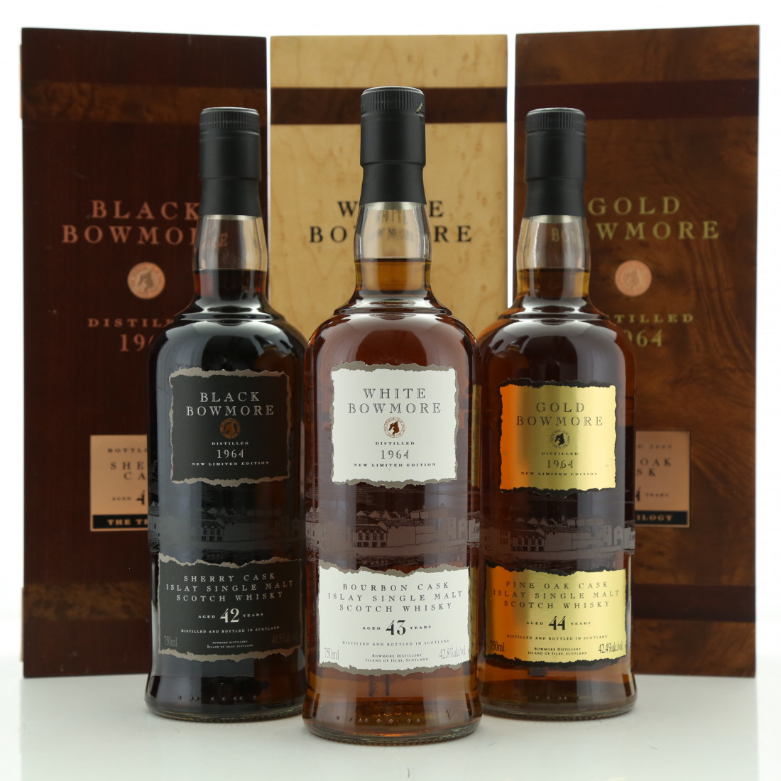 Bowmore 1964 Black, Gold & White Trilogy 3 x 75cl