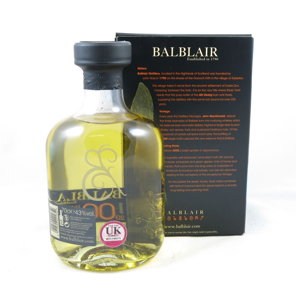Balblair 2000 (70cl and 5cl) back