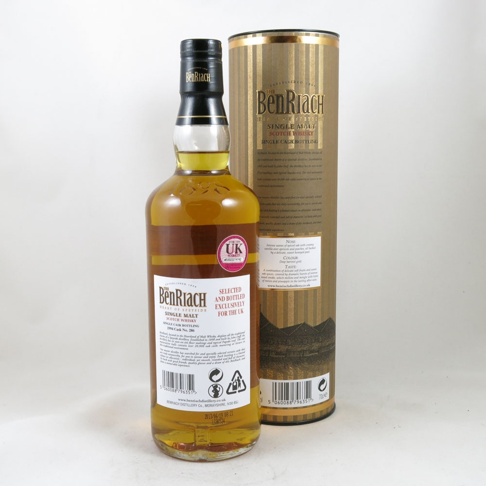 Benriach 1994 Single Cask Peated (UK Exclusive) back