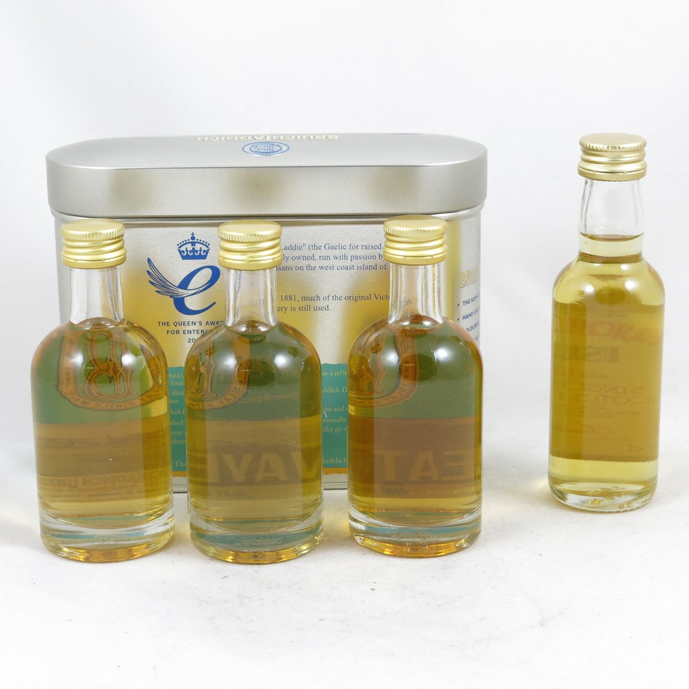 Bruichladdich Gift Pack and Old Style 10 Year Old Minatures 4 x 5cl Back