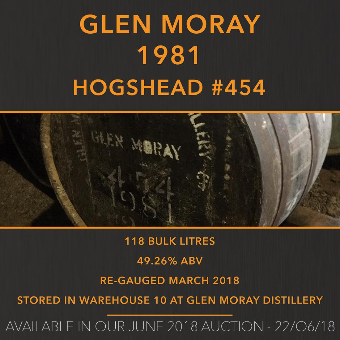 1 Glen Moray 1981 Hogshead #454 / Cask in storage at Glen Moray