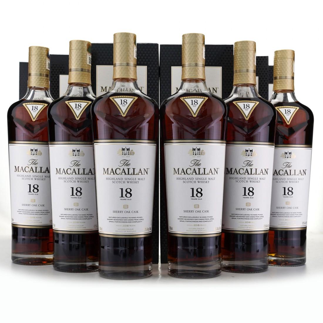 Macallan 18 Year Old Sherry Oak 2018 Release 6 x 75cl / US Import - Case