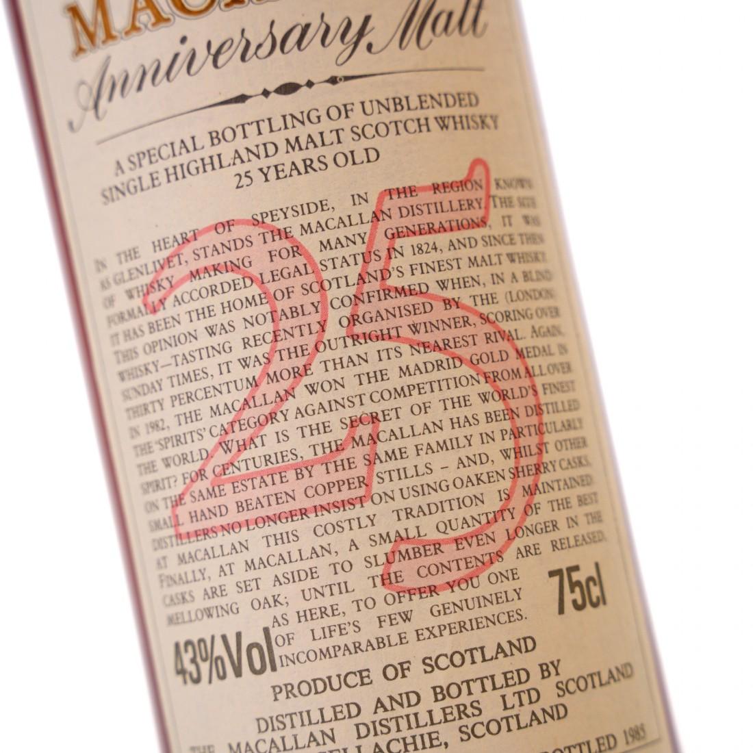 Macallan 1958/59 Anniversary Malt 25 Year Old