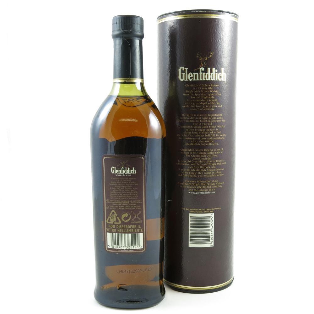 Glenfiddich 15 Year Old Solera Reserve Back
