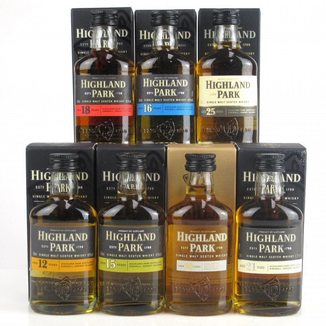 Highland Park Miniature Selection 7 x 5cl / Including 30 Year Old