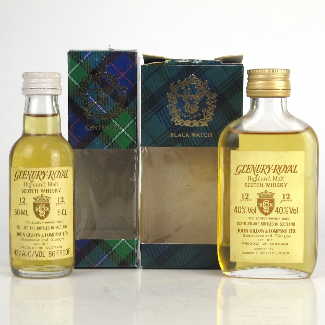 Glenury Royal 12 Year Old Miniatures 1980s 2 x 5cl