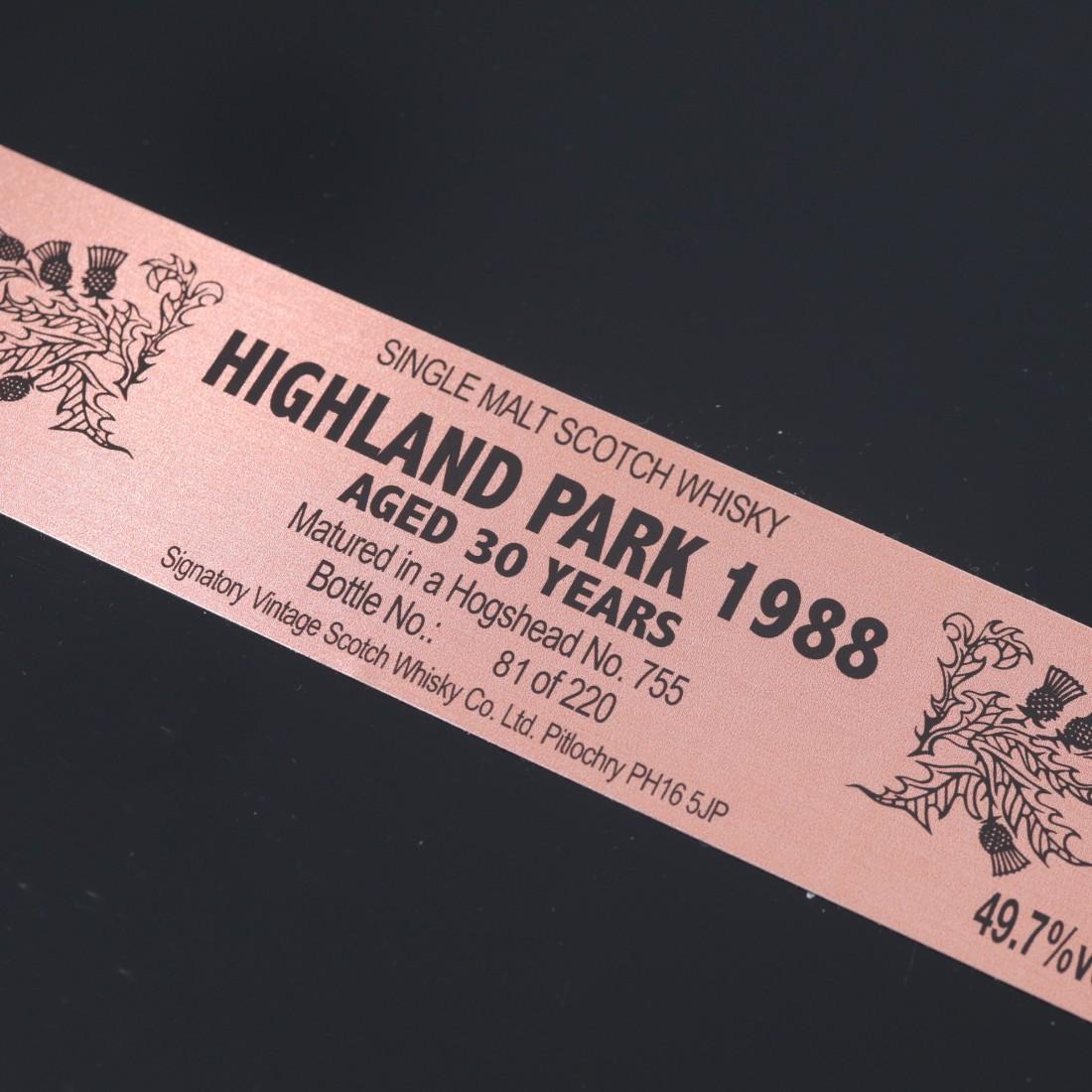 Highland Park 1988 Signatory Vintage 30 Year Old / 30th Anniversary