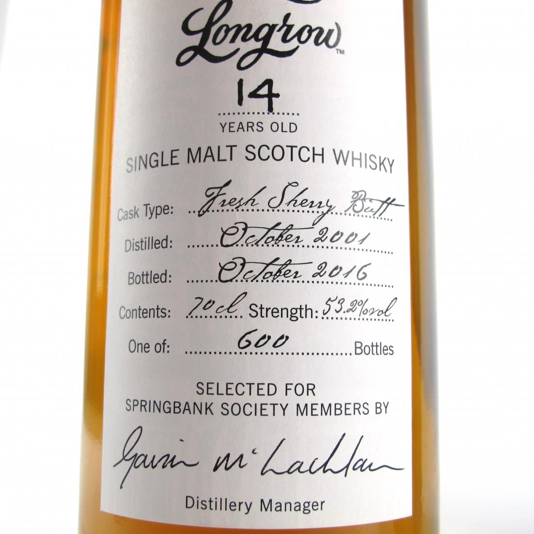 Longrow 2001 Springbank Society 14 Year Old / Fresh Sherry Butt
