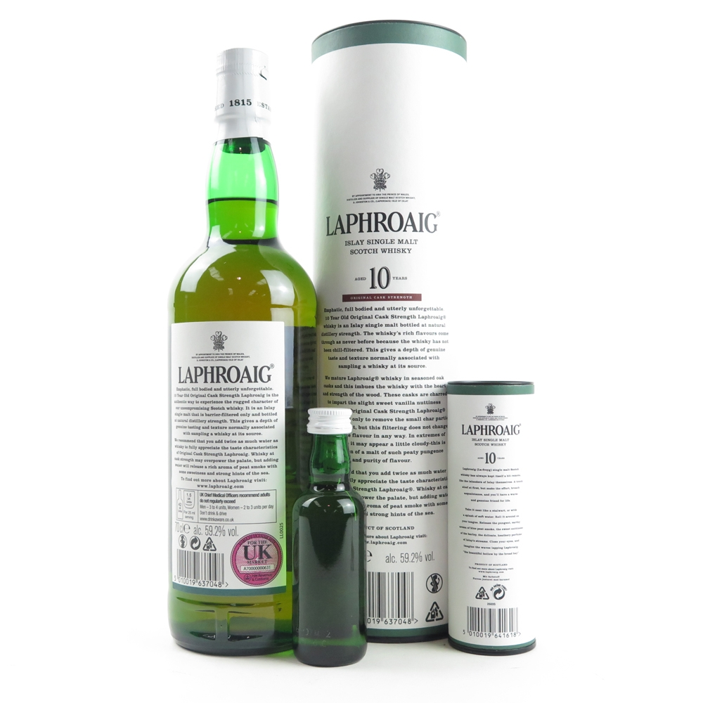 Laphroaig 10 Year Old Cask Strength Batch #008 and 10 Year Old Miniature 5cl