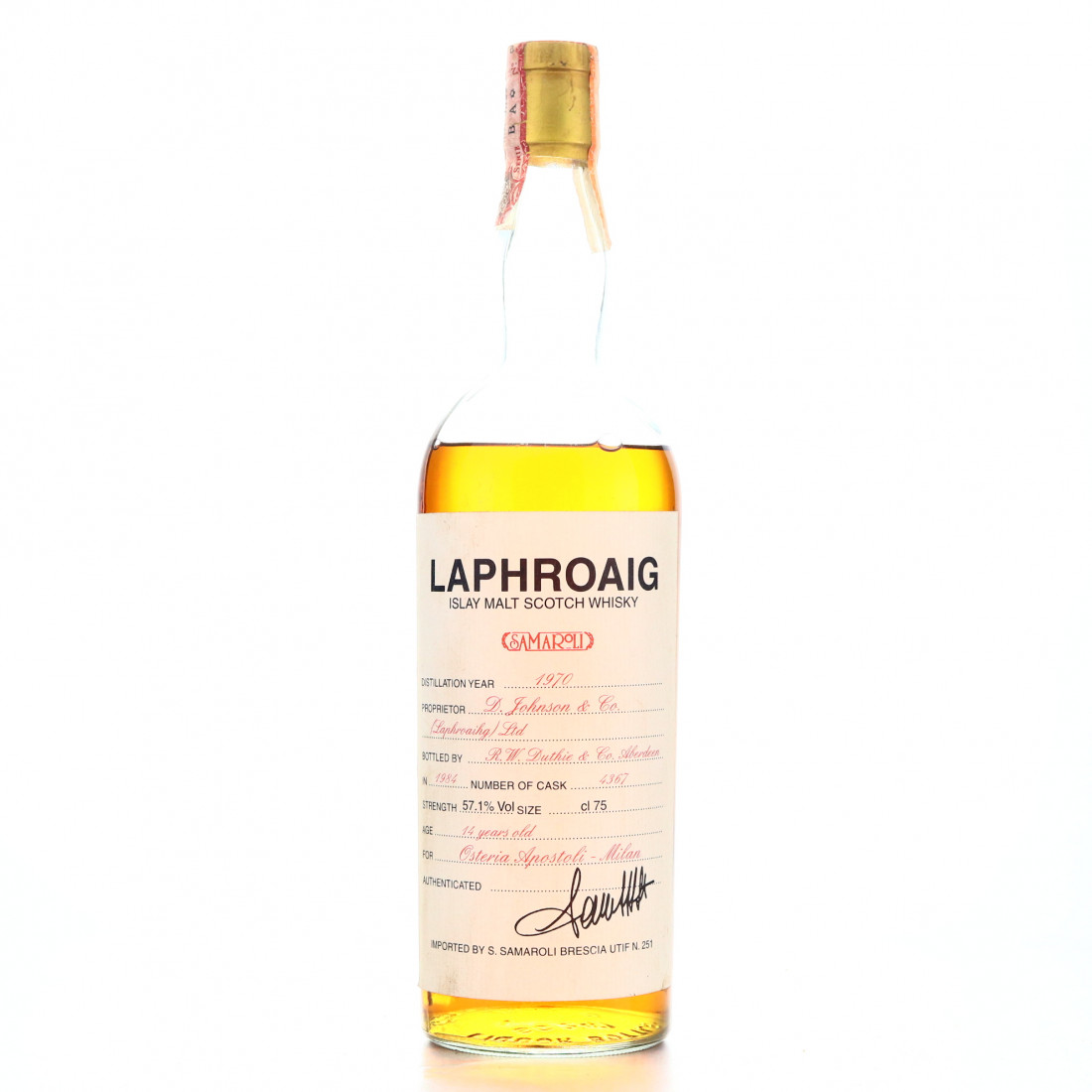 Laphroaig 1970 Samaroli 14 Year Old / Osteria Apostoli