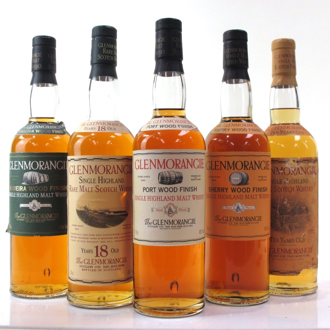 Glenmorangie Collection 5 x 70cl Including Plinth / Madeira Finish and 18 Year Old