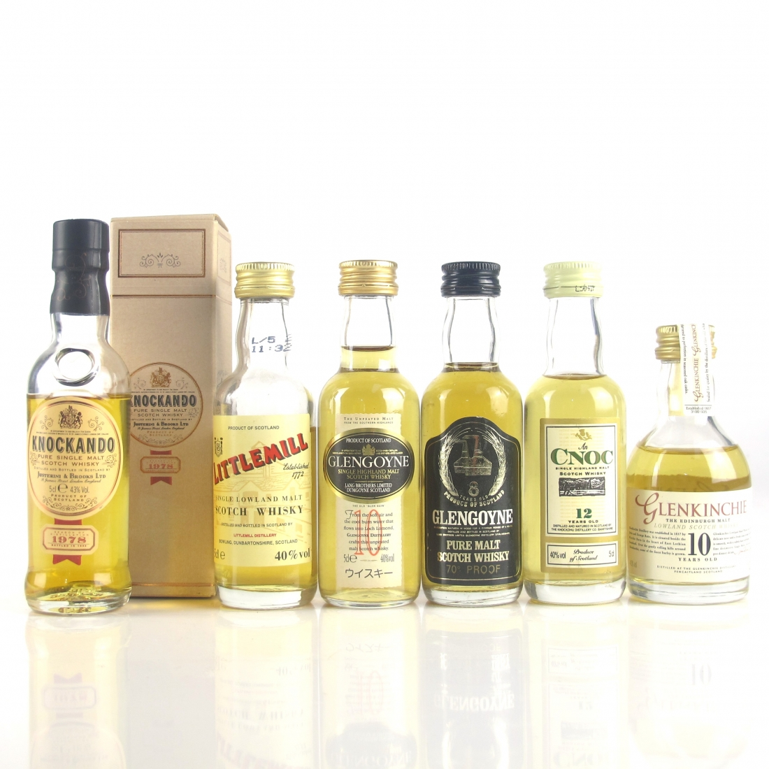 Miscellaneous Highland & Lowland Single Malt Miniatures x 6 / includes Littlemill