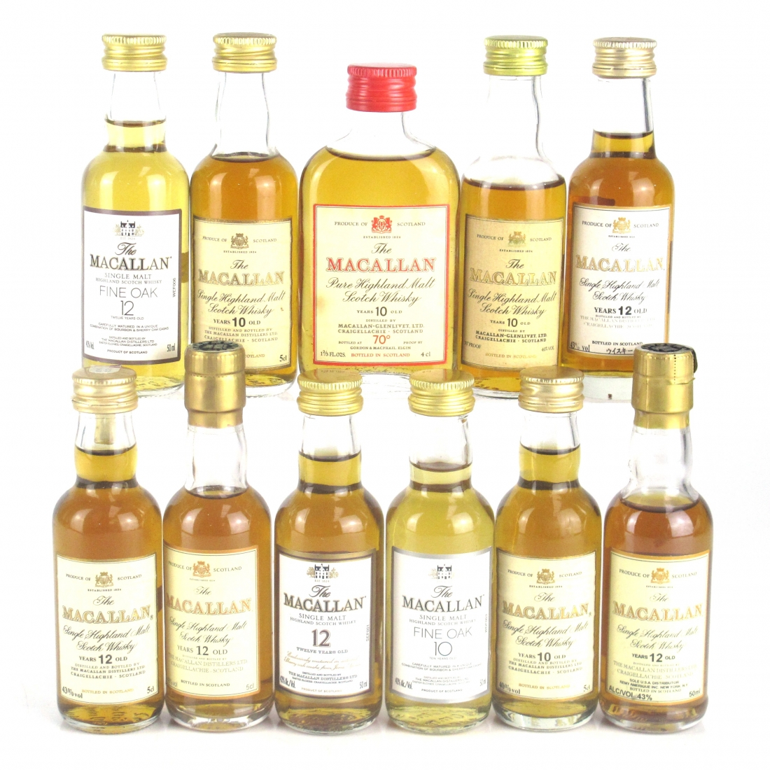 Macallan Miniature Selection x 11 / Including 10 Year Old 1970s