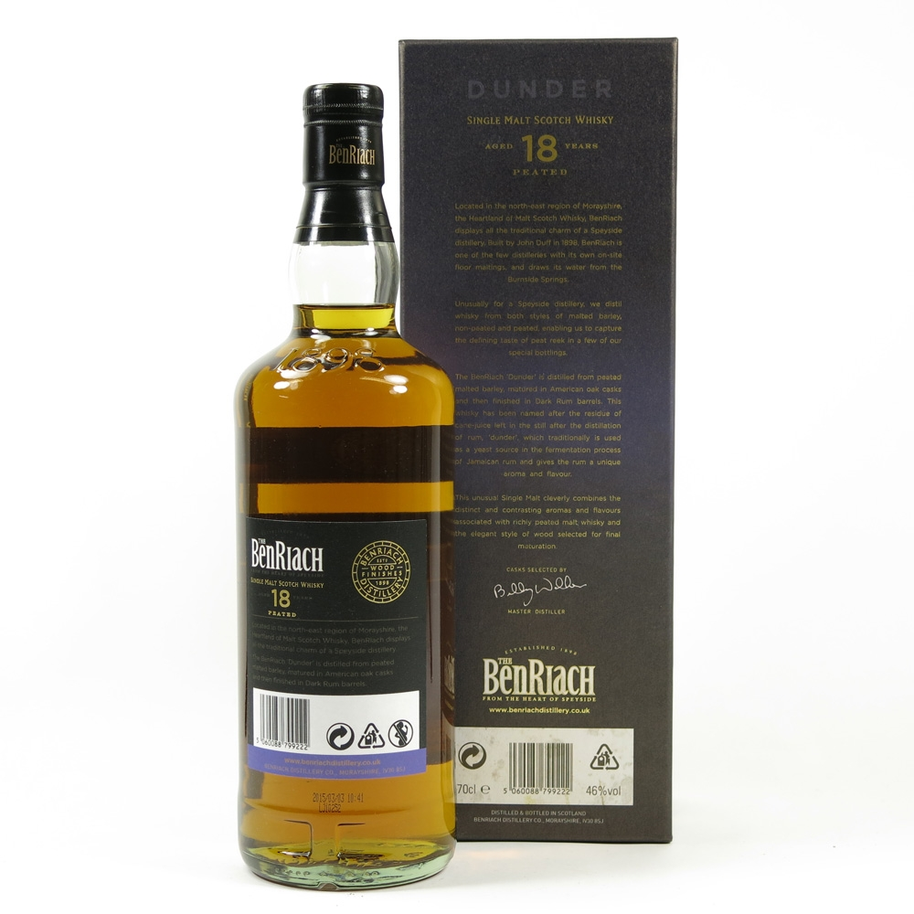 Benriach Dunder 18 Year Old Peated / Dark Rum Finish Back