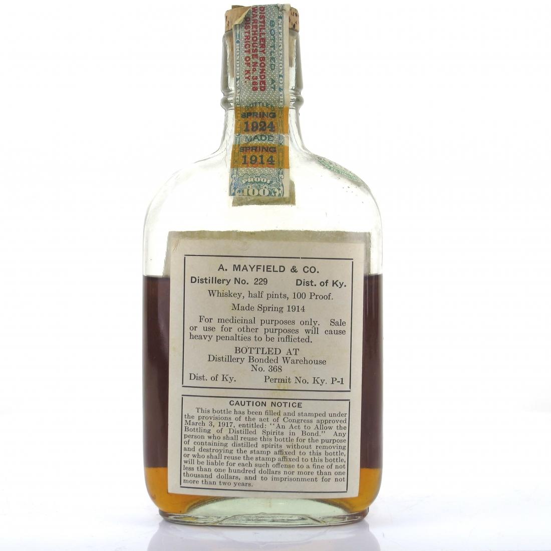 Henry Watterson 1914 Kentucky Whiskey / Bottled 1924 Half Pint