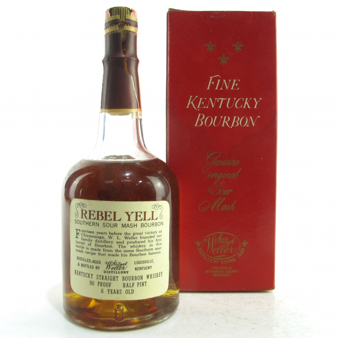 Rebel Yell 6 Year Old Kentucky Straight Bourbon Half Pint 1970s / Stitzel-Weller