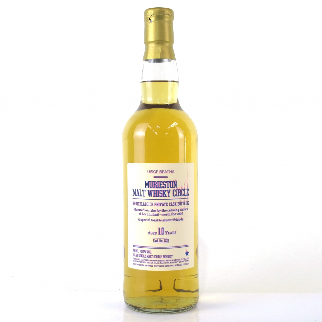 Bruichladdich 2005 Private Cask 10 Year Old #1520 / Murieston Malt Whisky Circle