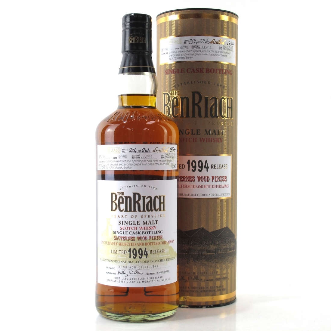 Benriach 1994 Single Cask 19 Year Old #4795 / Sauternes Wood Finish