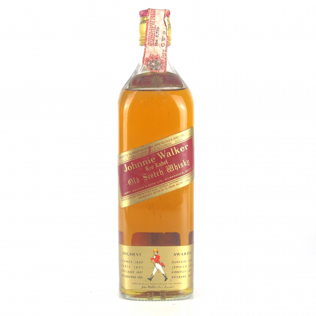 Johnnie Walker Red Label 1980s / Wax and Vitale Import