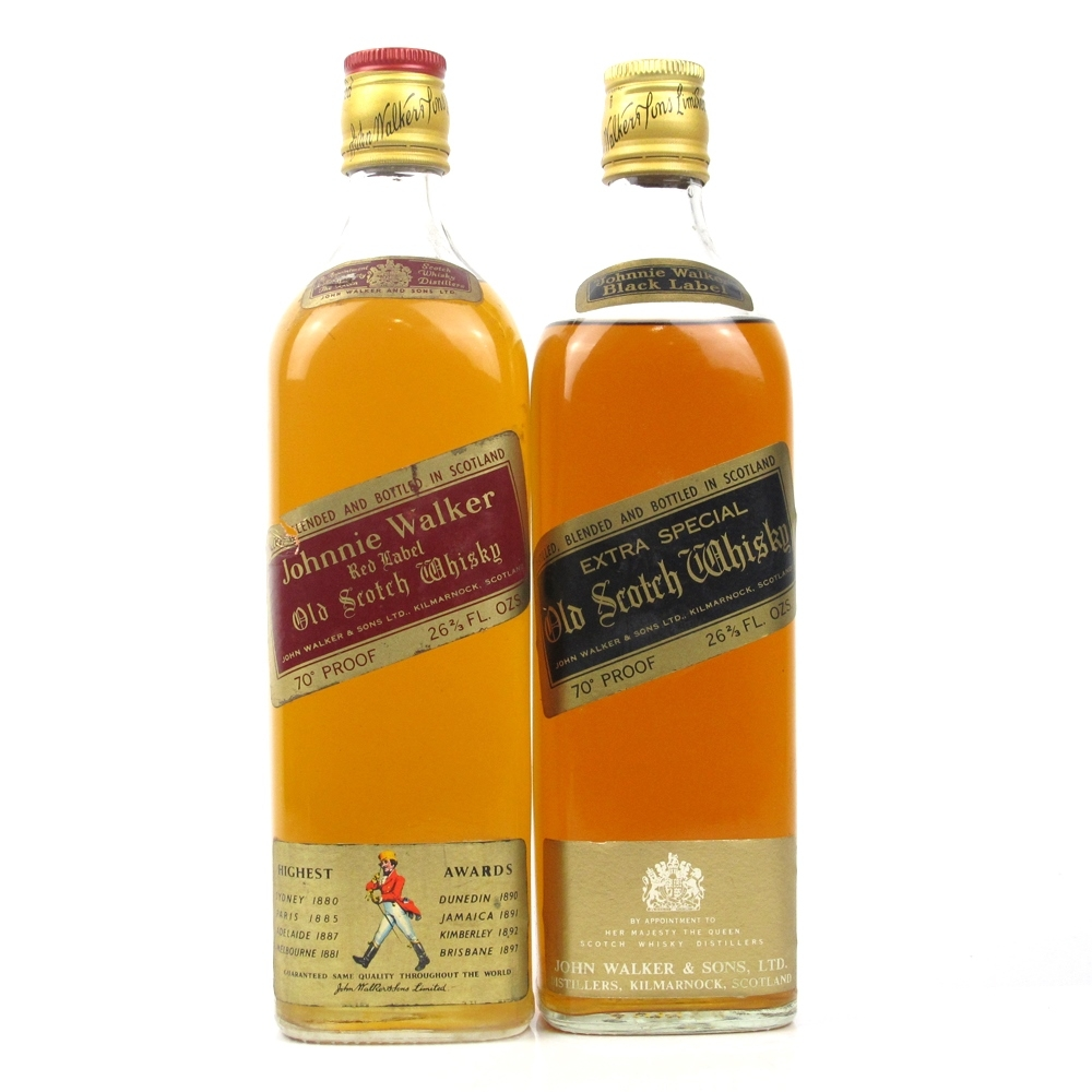 Johnnie Walker Red and Black Label 1970s x 2