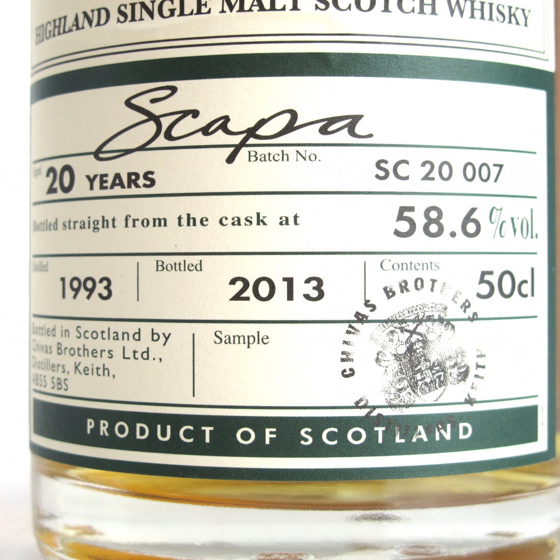 Scapa 1993 20 Year Old Cask Strength Batch #7