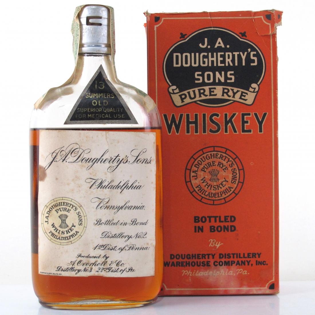 J A Dougherty's 1916 Pennsylvania Rye Whiskey / Bottled 1930