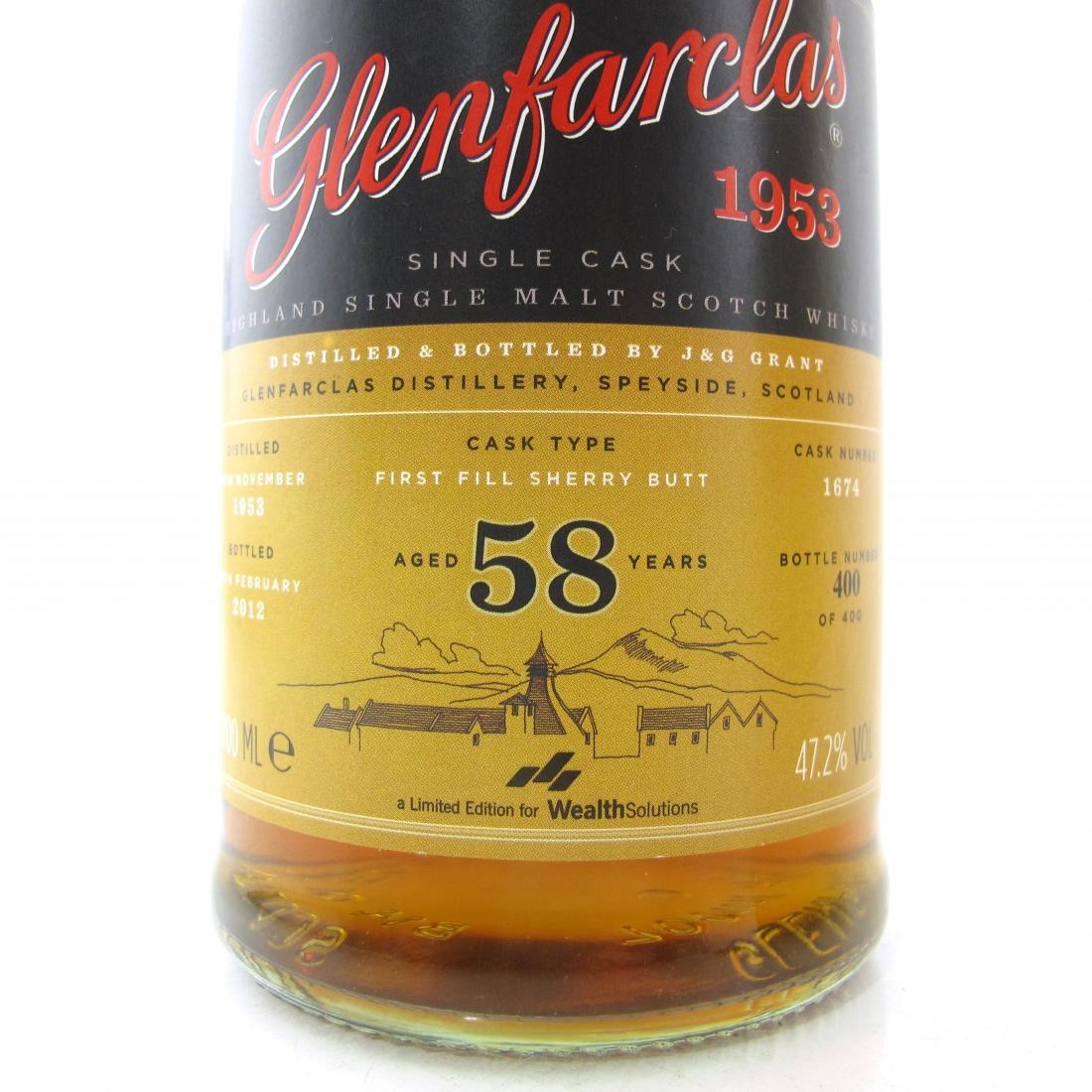 Glenfarclas 1953 Single Cask 58 Year Old Wealth Solutions / Bottle #400 of 400