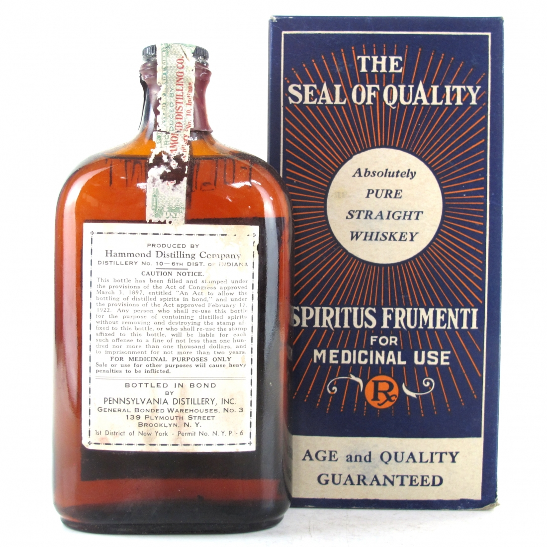 Old Vandegrift 1917 Pure Whisky 1 Pint / Pre-Prohibition