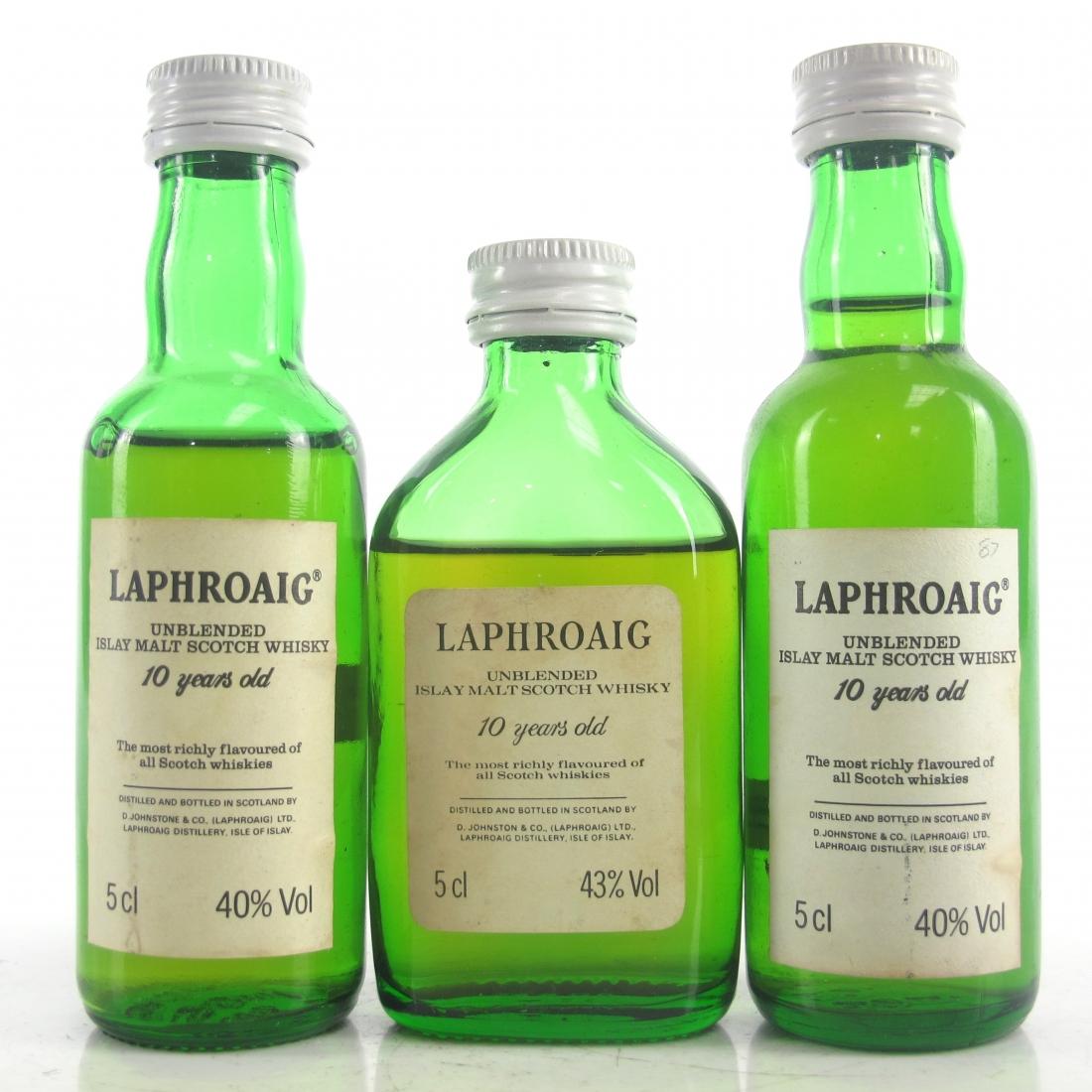 Laphroaig 10 Year Old Miniatures 3 x 5cl 1980s