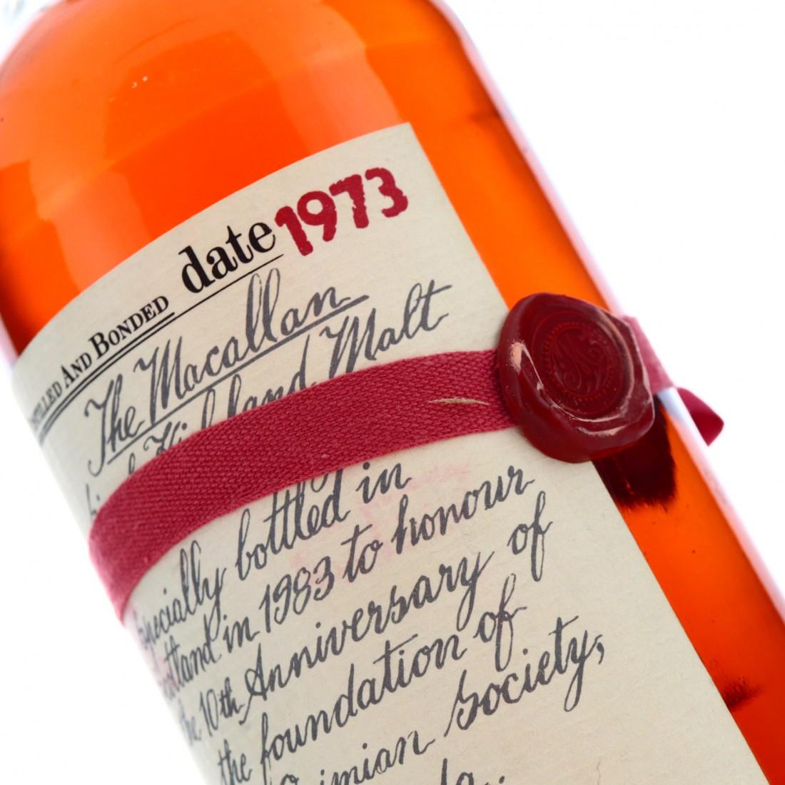 Macallan 1973 Handwritten Label / Opimian Society 10th Anniversary
