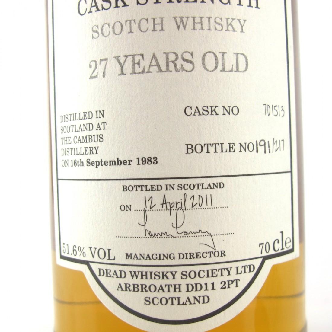Cambus 1988 Dead Whisky Society 27 Year Old