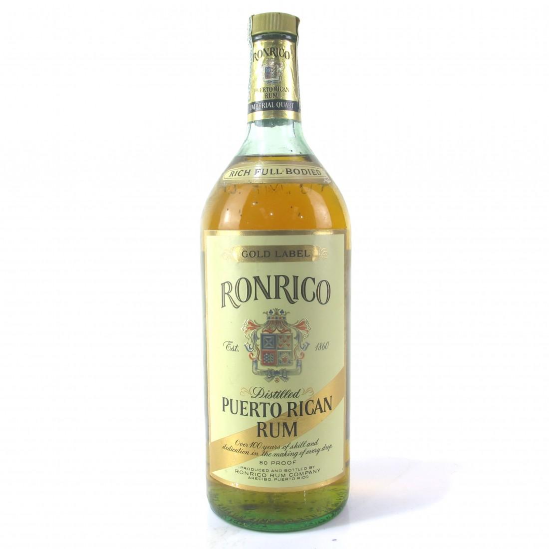 Ronrico Gold Label Puerto Rican Rum 1 Quart 1980s